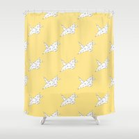 crane Shower Curtains featuring Origami Crane by Little Owl Oddities