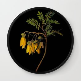 Sophora Tetraptera Mary Delany Floral Paper Collage Delicate Vintage Flowers Wall Clock