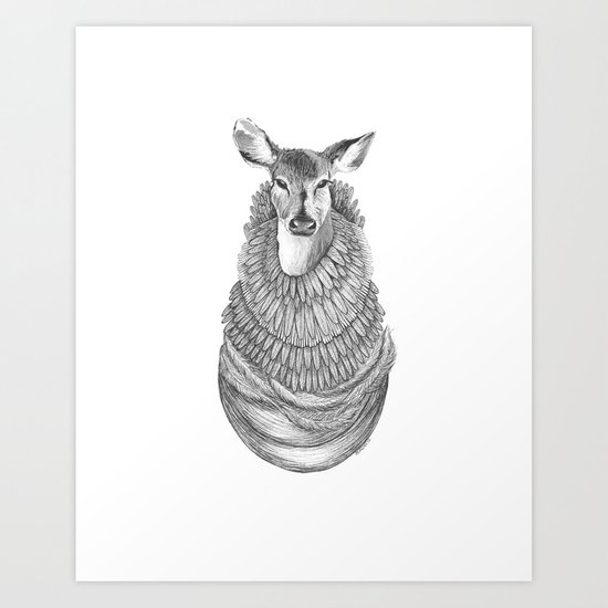 Feathered Deer.  Art Print