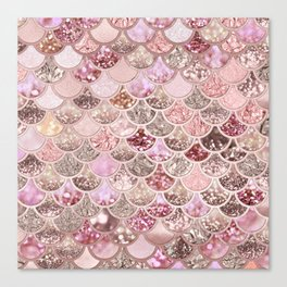 Rose Gold Blush Glitter Ombre Mermaid Scales Pattern Canvas Print