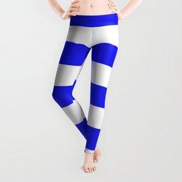Bluebonnet - solid color - white stripes pattern Leggings