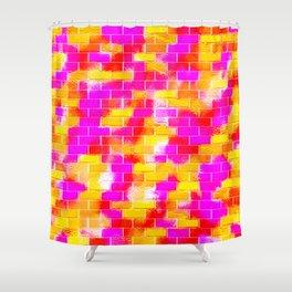 BRICK WALL SMUDGED (Reds, Oranges, Yellows & Fuchsias) Shower Curtain
