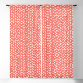 Forget Me Nots - White on Living Coral Blackout Curtain