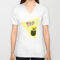 pineapple V-neck T-shirts featuring PINEAPPLE by Nika