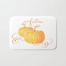 Golden Orange Autumn Pumpkins Bath Mat