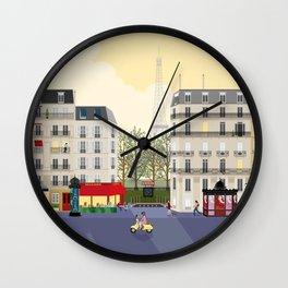 Paris Street Scene Art Print - Dawn Wall Clock