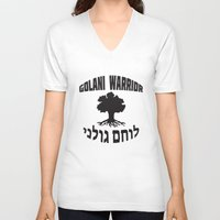 israel V-neck T-shirts featuring Israel Defense Forces - Golani Warrior by crouchingpixel