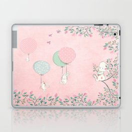 Cute flying Bunny with Balloon and Flower Rabbit Animal on pink floral background Laptop & iPad Skin