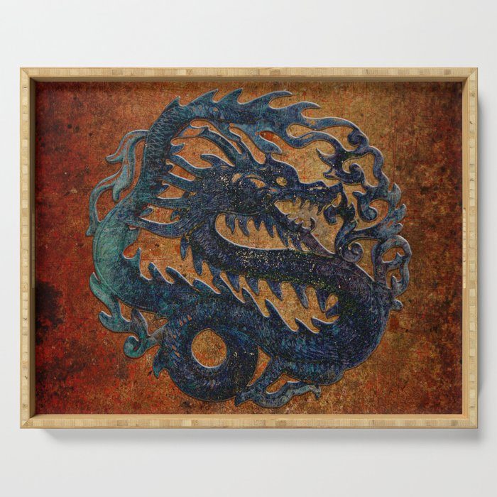 Blue Chinese Dragon on Stone Background Serving Tray