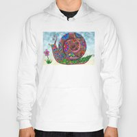 snail Hoodies featuring Snail by WelshPixie