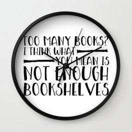 Too Many Books? (Lines) Wall Clock