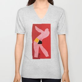 Small Dancer on a Red Background 1937, Cut Outs by Henri Matisse, Artwork Design, Poster Tshirt, Tee Unisex V-Neck