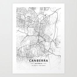 Canberra, Australia - Light Map Art Print