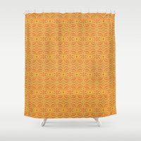 rose gold Shower Curtains featuring GOLD FLORAL ABSTRACT by SHI Designs