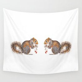 Berries Squirrel Wall Tapestry