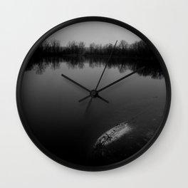Sunset at the Lake - B&W Wall Clock