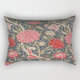 William Morris Floral Red and Pink Art Nouveau Textile Patter Rectangular Pillow