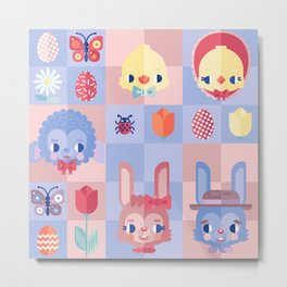 Happy Easter! Pattern Metal Print