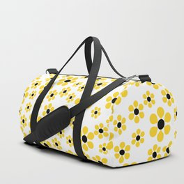Dizzy Daisies - Yellow on White - more colors Duffle Bag