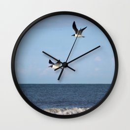 2 Seagulls Flying Wall Clock