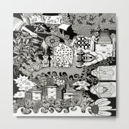 Bee World Metal Print