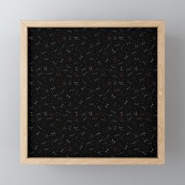 Ditzy Feynman diagrams and Particles on Black Framed Mini Art Print