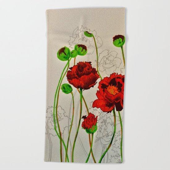 Very Red Flowers Beach Towel