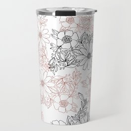 Hand drawn black faux rose gold floral Travel Mug