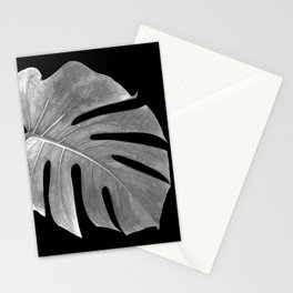 Black and White Monstera Leaf Stationery Cards