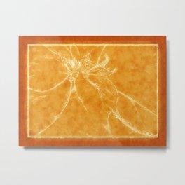 Mottled Red Poinsettia 2 Outlined Orange Metal Print