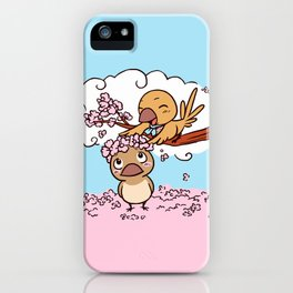 Finches birds with pink sakura flower iPhone Case