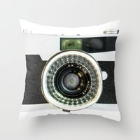 vintage camera Throw Pillows featuring Vintage camera by cafelab
