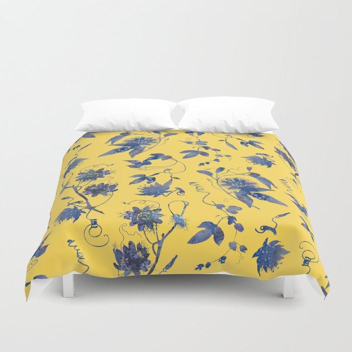 Elegant Blue Pion Flower On Mustard Yellow Duvet Cover By Tanjica Society6