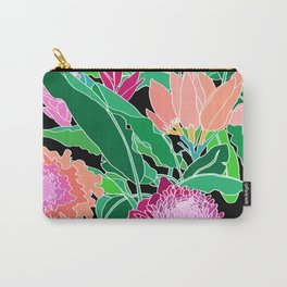 Bird of Paradise + Ginger Tropical Floral in Black Carry-All Pouch