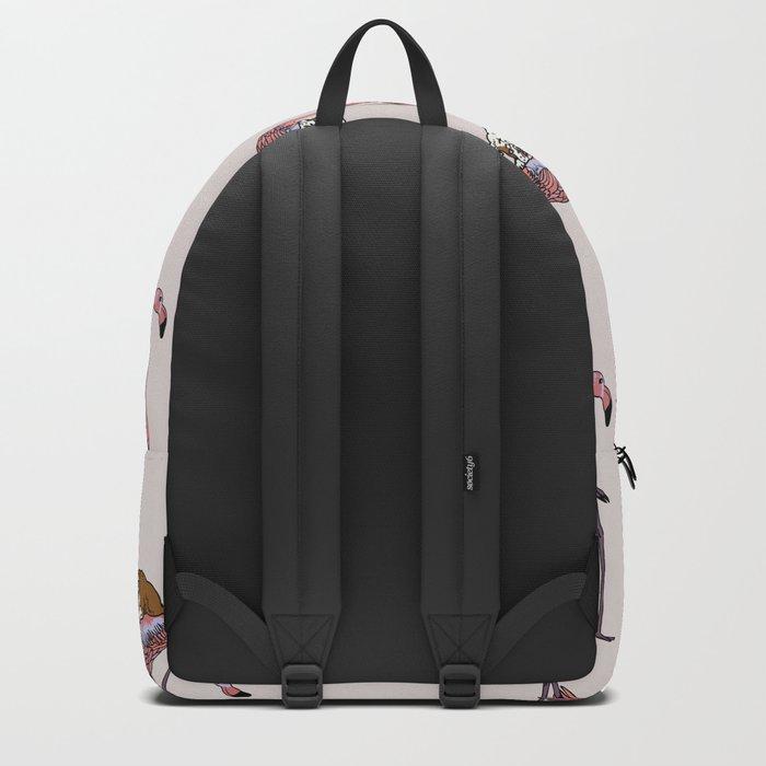Flamingo and English Bulldog Backpack