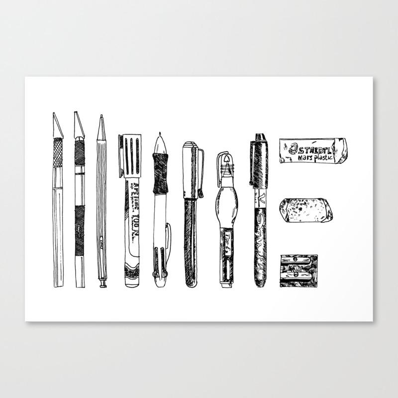 Pencil Case 1 - Artschool Canvas Print by Cleobule CNV8244236