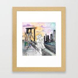 Kissing on the Bridge Framed Art Print