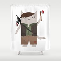 daryl dixon Shower Curtains featuring Daryl Dixon the Cat by The Cat