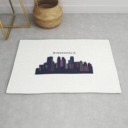 City landscape of Minneapolis, Minnesota Rug