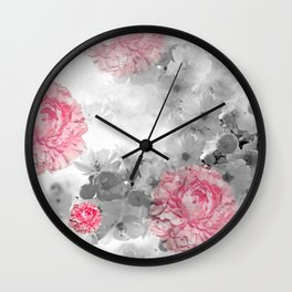ROSES PINK WITH CHERRY BLOSSOMS Wall Clock