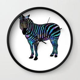 Psychedelic Zebra Stripes Trippy Animal Graphic Wall Clock