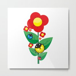 Ladybugs on Flowers #society6 #decor #buyart #artprint Metal Print