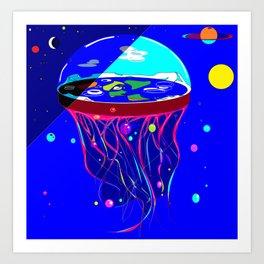 Flat Earth Jellyfish Spaceship Art Print