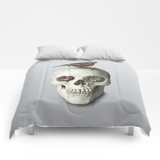 Skull & bird, watercolor Comforters
