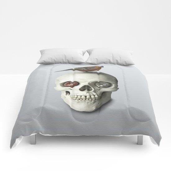 Skull  & bird, watercolor Comforters