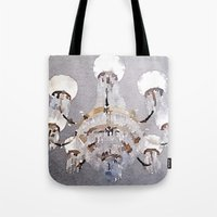 chandelier Tote Bags featuring Chandelier by Charming Ink