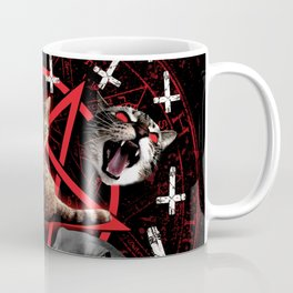 satanic cat pentagram death black metal band exorcist Coffee Mug