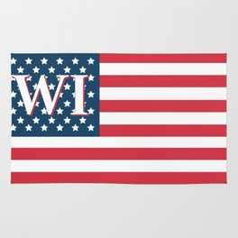 Wisconsin American Flag Rug