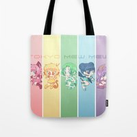 mew Tote Bags featuring Tokyo Mew Mew by Corpse Cutie
