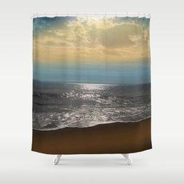Golden Sky Over The Ocean Shower Curtain